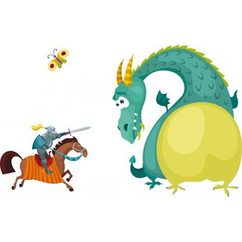 stickers-dragon-et-chevalier